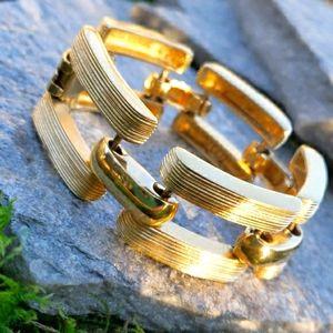 Vtg St.John Tire Track Gold Link Bracelet Designer